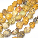 1 Strand of Semiprecious Gemstone Large Nugget Beads - Yellow Moss Opal